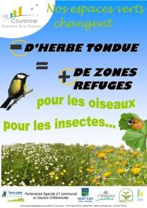 Affiche 'Moins d'herbe tondue = plus de zones refuges'
