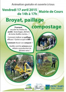"Affiche animation ""broyat, paillage et compostage"" à Cours, avril 2015"
