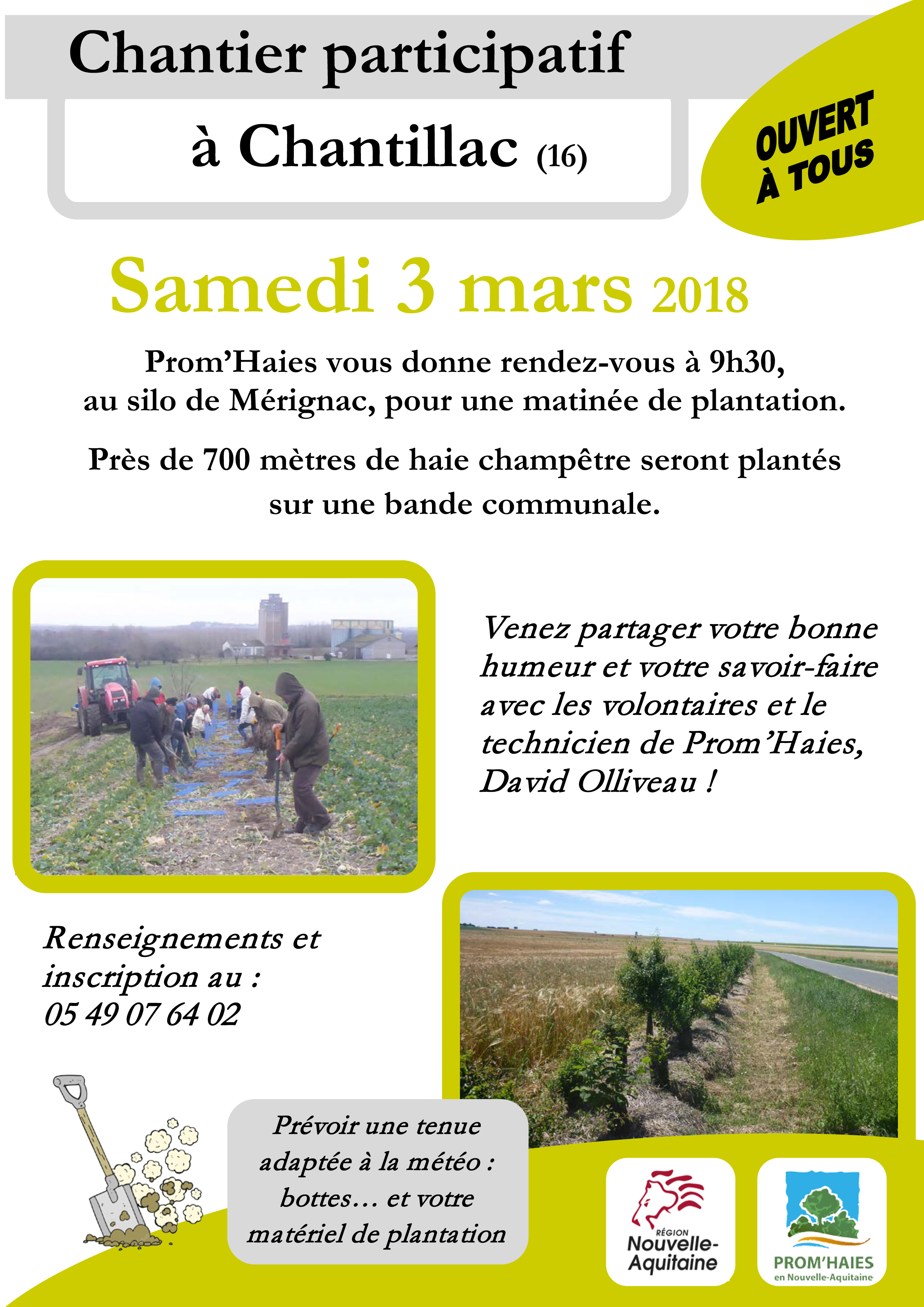 samedi 3 mars plantation participative chantillac 16 prom 39 haies en nouvelle aquitaine. Black Bedroom Furniture Sets. Home Design Ideas